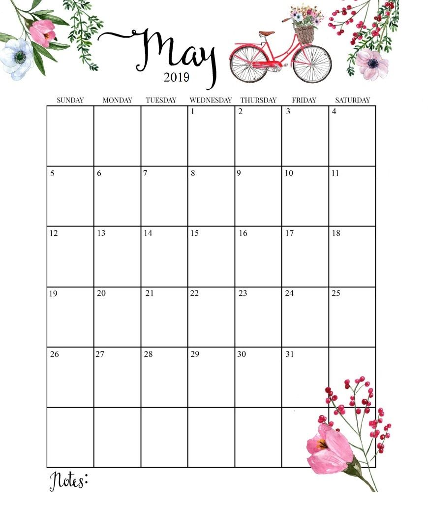 Cute 2019 Monthly Calendar Calendarios Imprimiveis