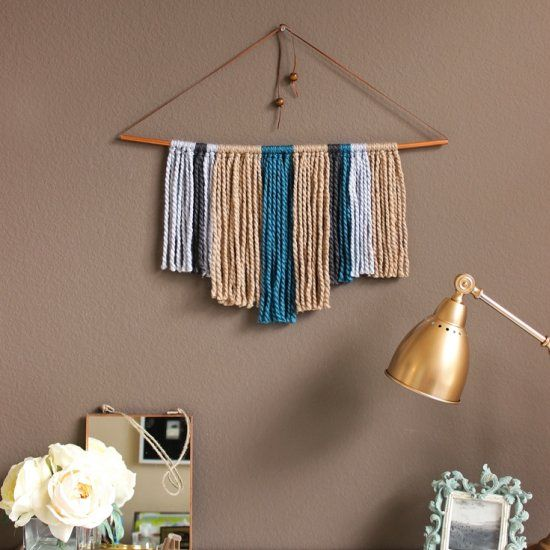 A Simple Super Fast No Weave Wall Hanging To Make Your Walls Pop Yarn Wall Hanging Copper Diy Woven Wall Art