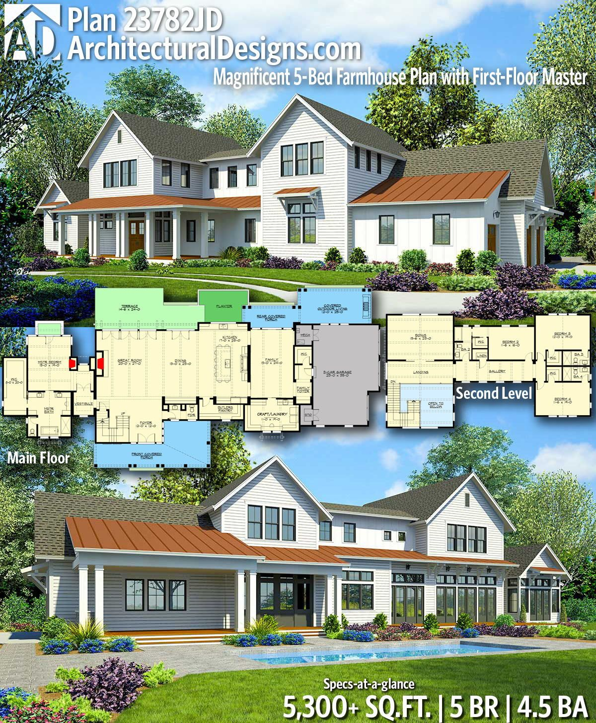 Plan 23782JD: Sprawling Modern Farmhouse Plan with First ...