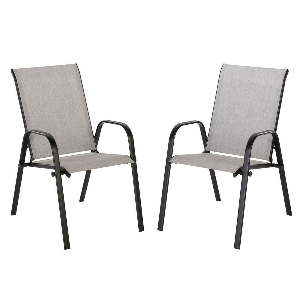 Hampton Bay Mix And Match Black Stackable Sling Outdoor Dining Chair In Wet Cement 2 Pack Kts677k W Outdoor Dining Chairs Outdoor Dining Gray Patio Furniture