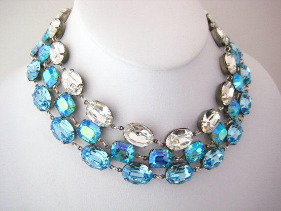 Swarovski Clear Crystal Oval Rhinestone Choker by zoeJaneJewels1