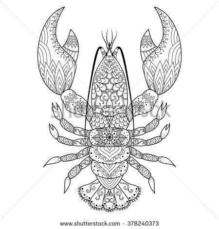 Lobster line art design for coloring book, logo, t shirt design ...