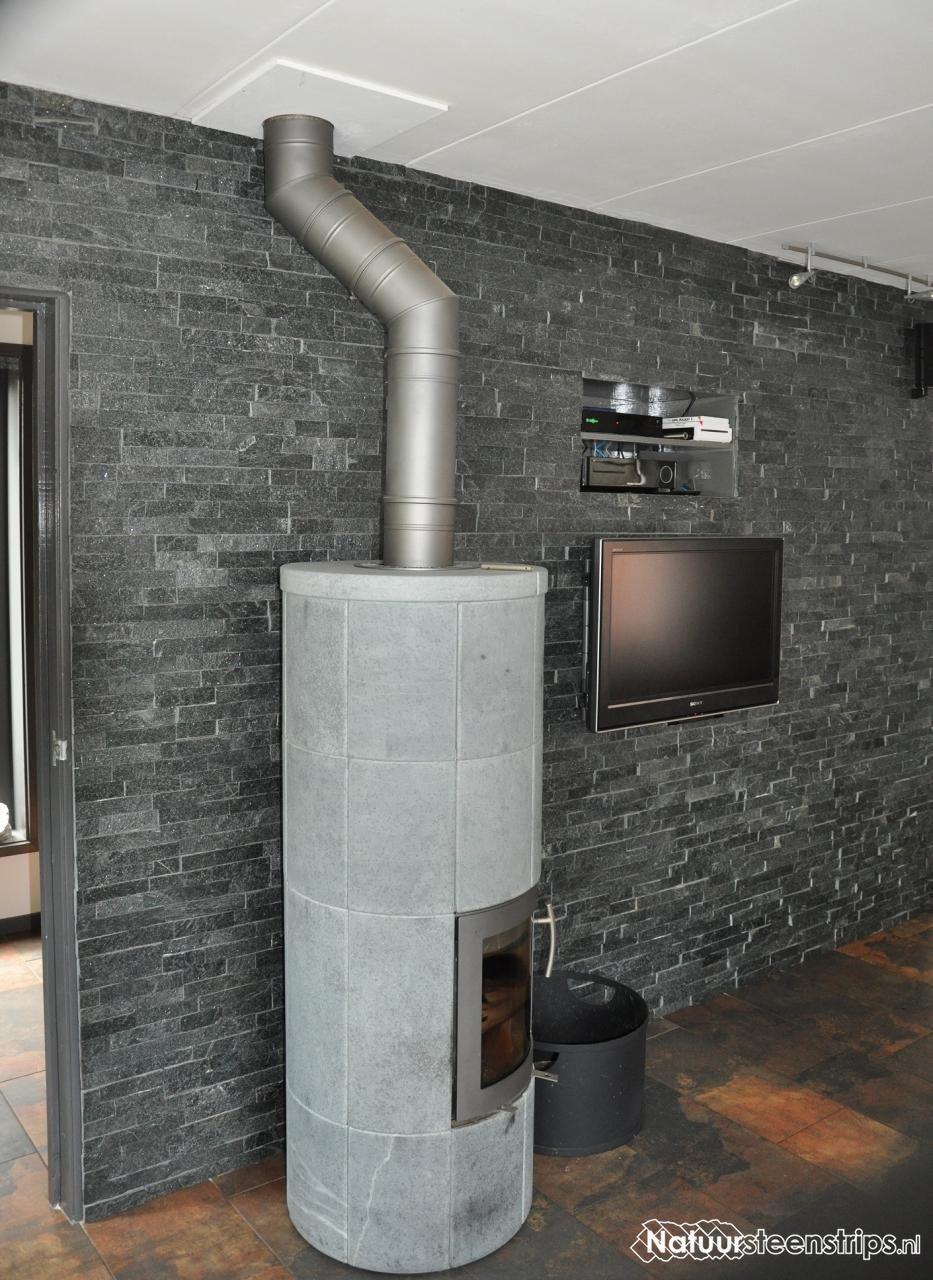 woonkamer wand bekleed met natuursteenstrips zwart kwartsiet, Deco ideeën