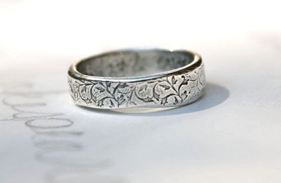 Unisex Wedding Band Ring Thick Recycled Silver Vine Leaf Engraved Ring Happily Ever After Ecofriendly Wedding Band Ring Peacesofindigo Rings Mens Wedding Bands Womens Wedding Bands Alternative Engagement Rings Vintage