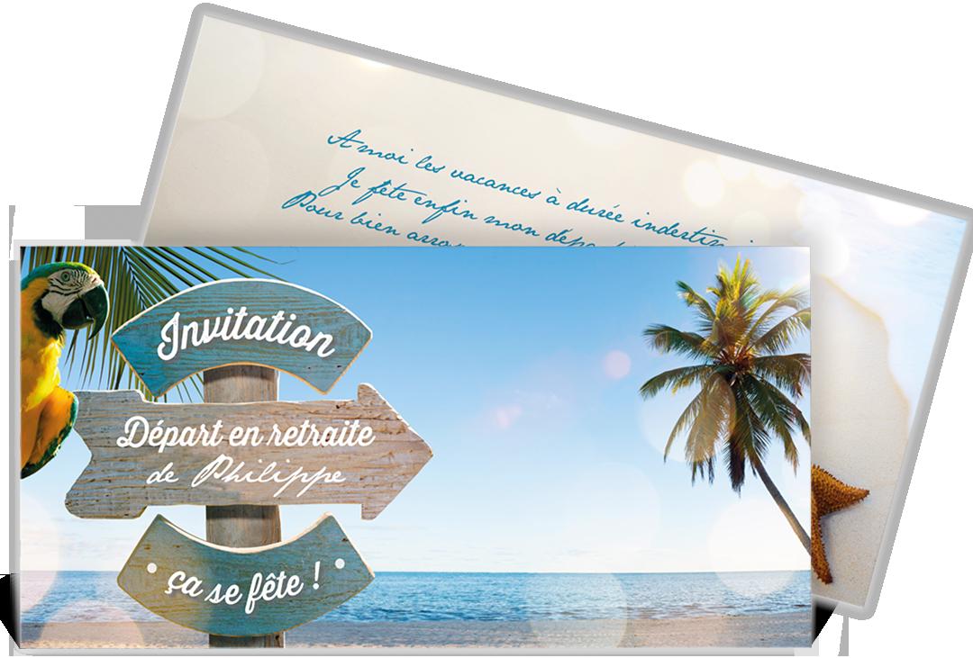 Carte Invitation D 233 Part 224 La Retraite Vacances M 233 Rit 233 Es