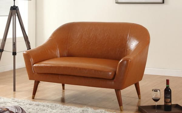 Mid Century Modern Bonded Leather Living Room Loveseat (Camel