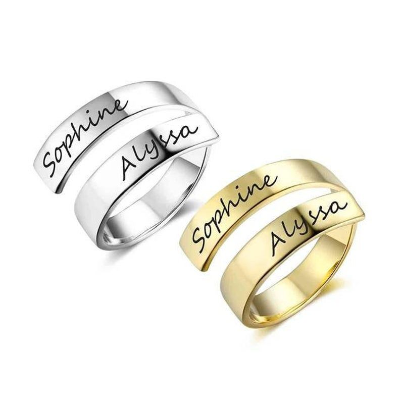 Personalised Engrave Couple Names Rings Custom Adjustable Promise Ring Gift