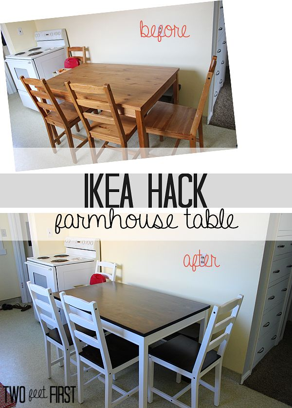 Ikea Hack Farmhouse Table Diy Kitchen Table Kitchen Table Wood