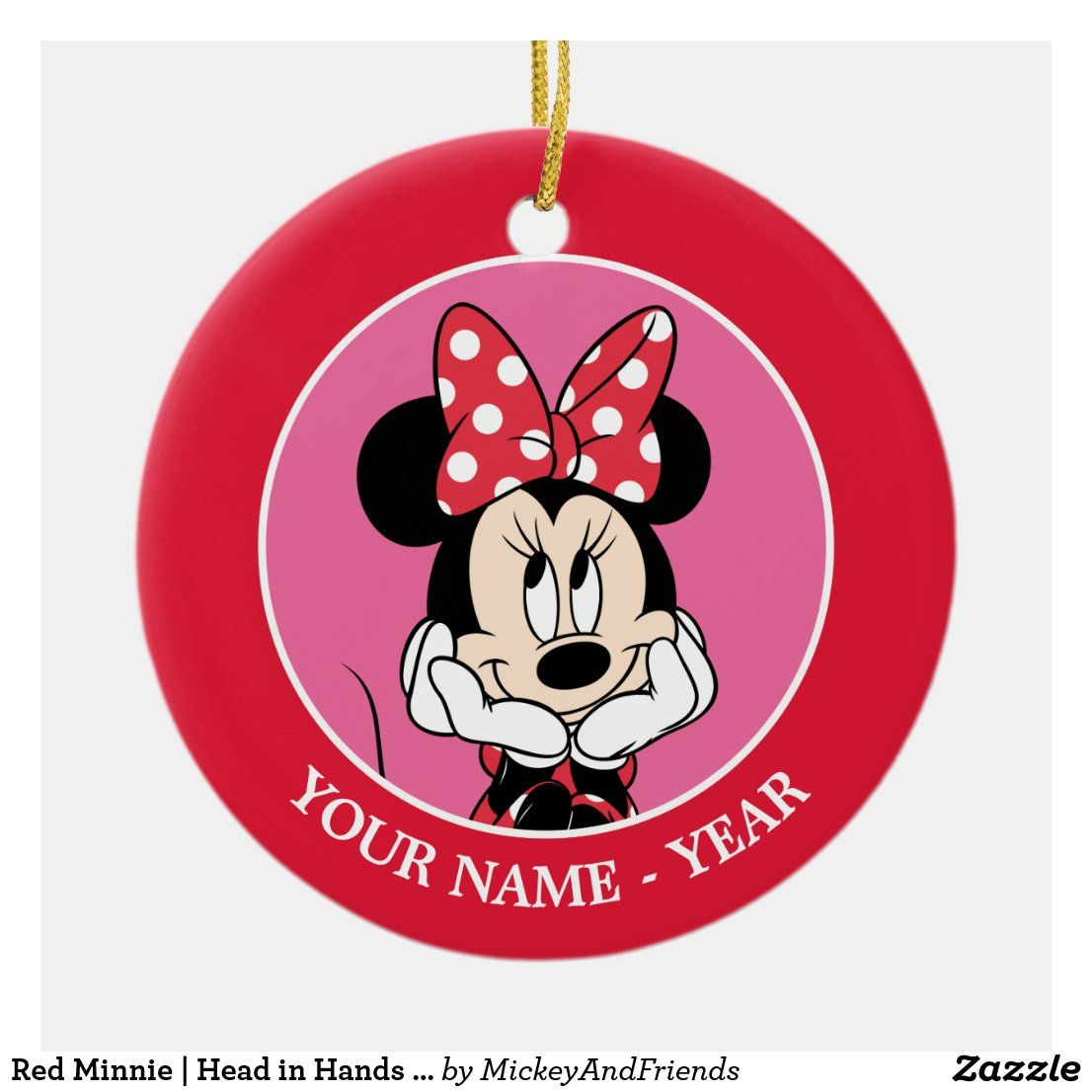 Red Minnie Head In Hands Add Your Name Ceramic Ornament Zazzle Com In 2020 Disney Christmas Ornaments Disney Gifts Minnie