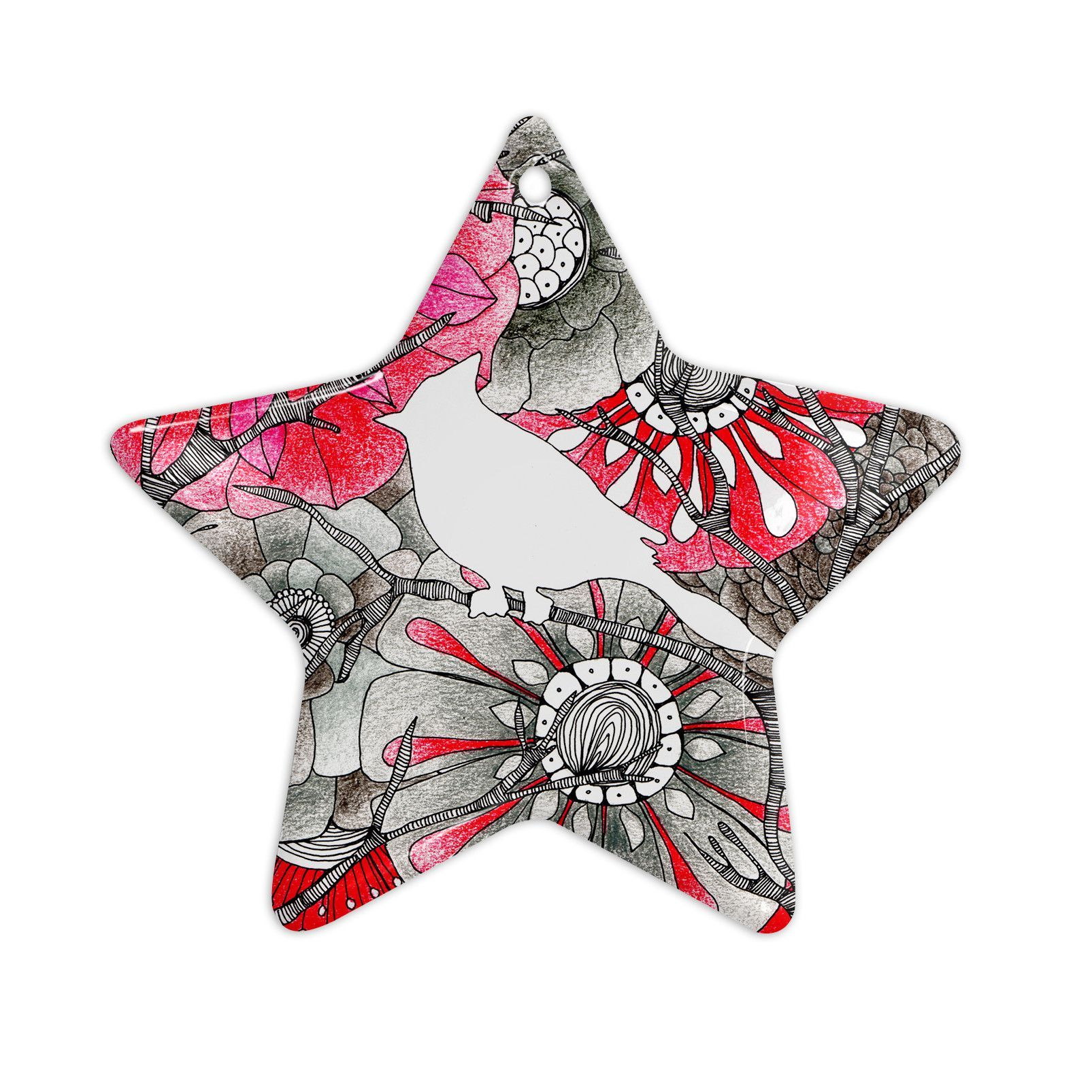 "Anchobee ""Cardinal"" Red Black Ceramic Star Ornament"