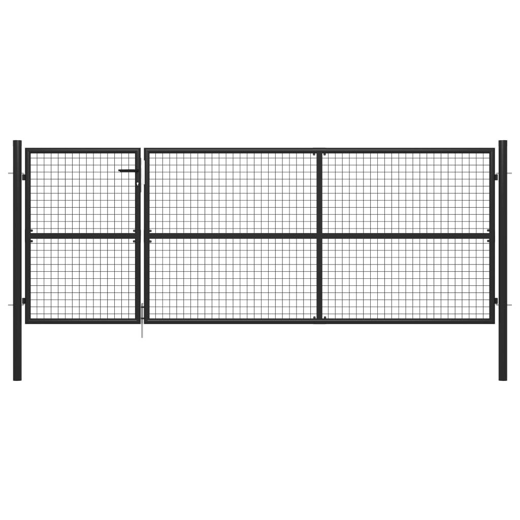 vidaXL garden gate steel 350 x 125 cm anthracite