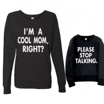 4dd49799e0 Sweet Letter Printed Long Sleeve T-shirt in Black for Mom and Me ...
