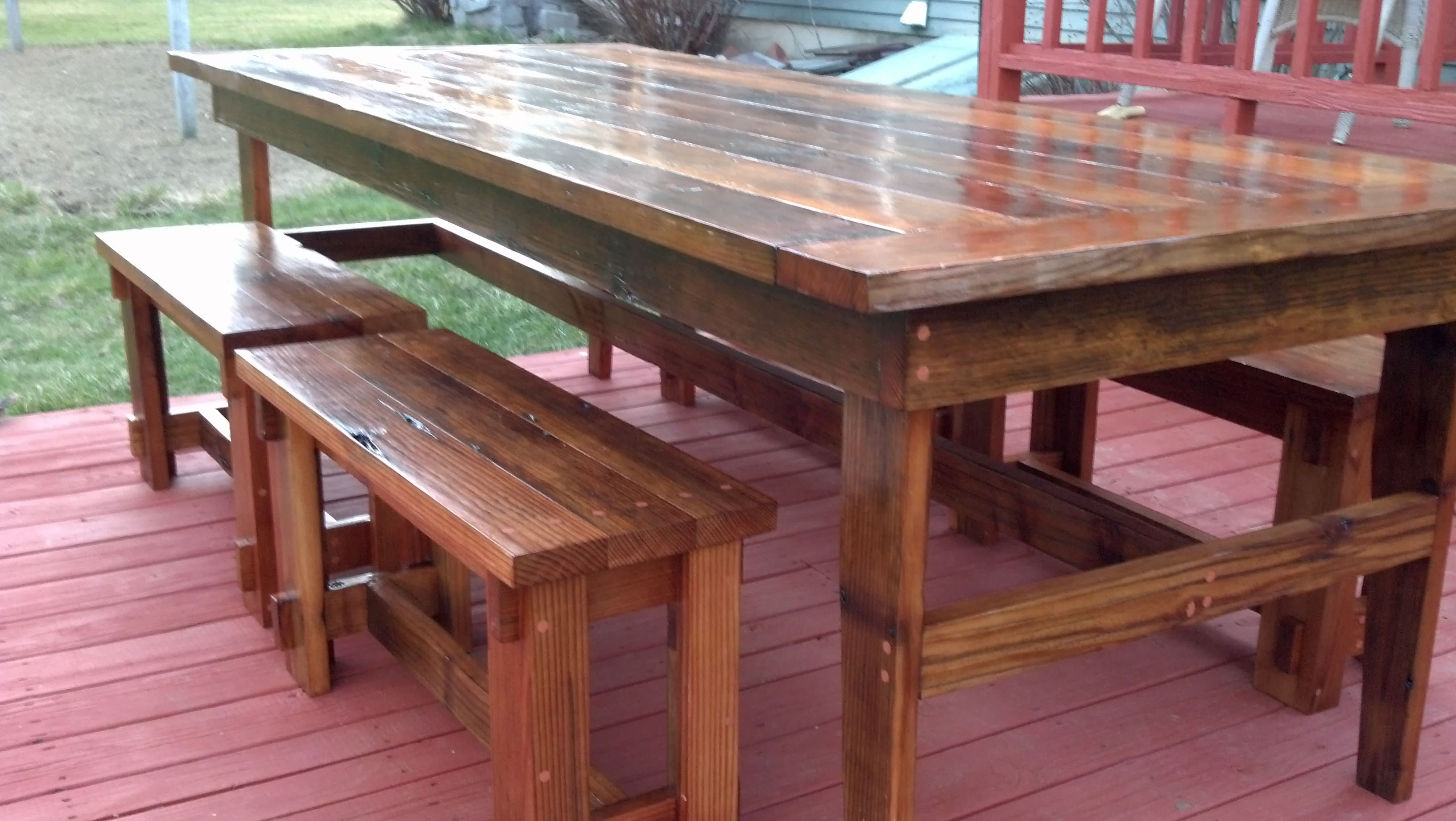Rustic Farm Table & Benches Do It Yourself Home Projects