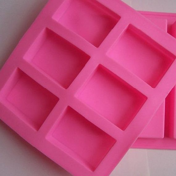 6 Cavity Plain Rectangle Soap Mold Silicone Craft DIY Making Homemade Cake Tool