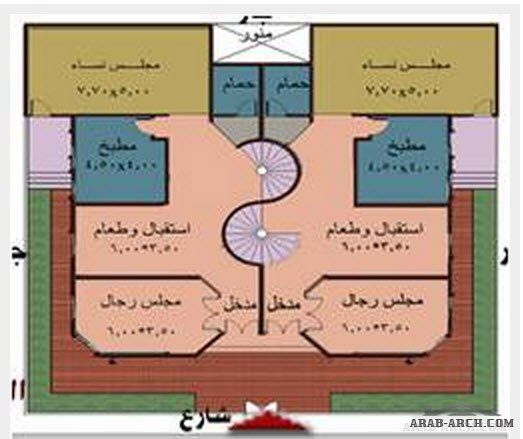 خريطة فيلا دوبلكس طابقين مساحه الارض 400 متر مربع 3d House Plans How To Plan House Design