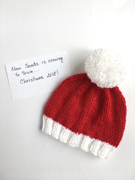 Hand knitted Newborn Santa hat with mittens 7f13e65ebf4