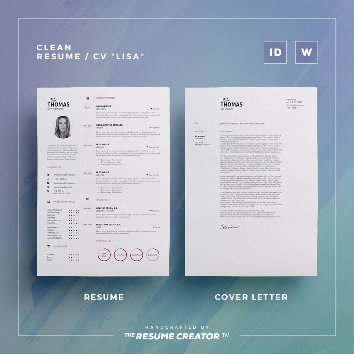 Clean ResumeCv Lisa  Word And Indesign Template  Professional
