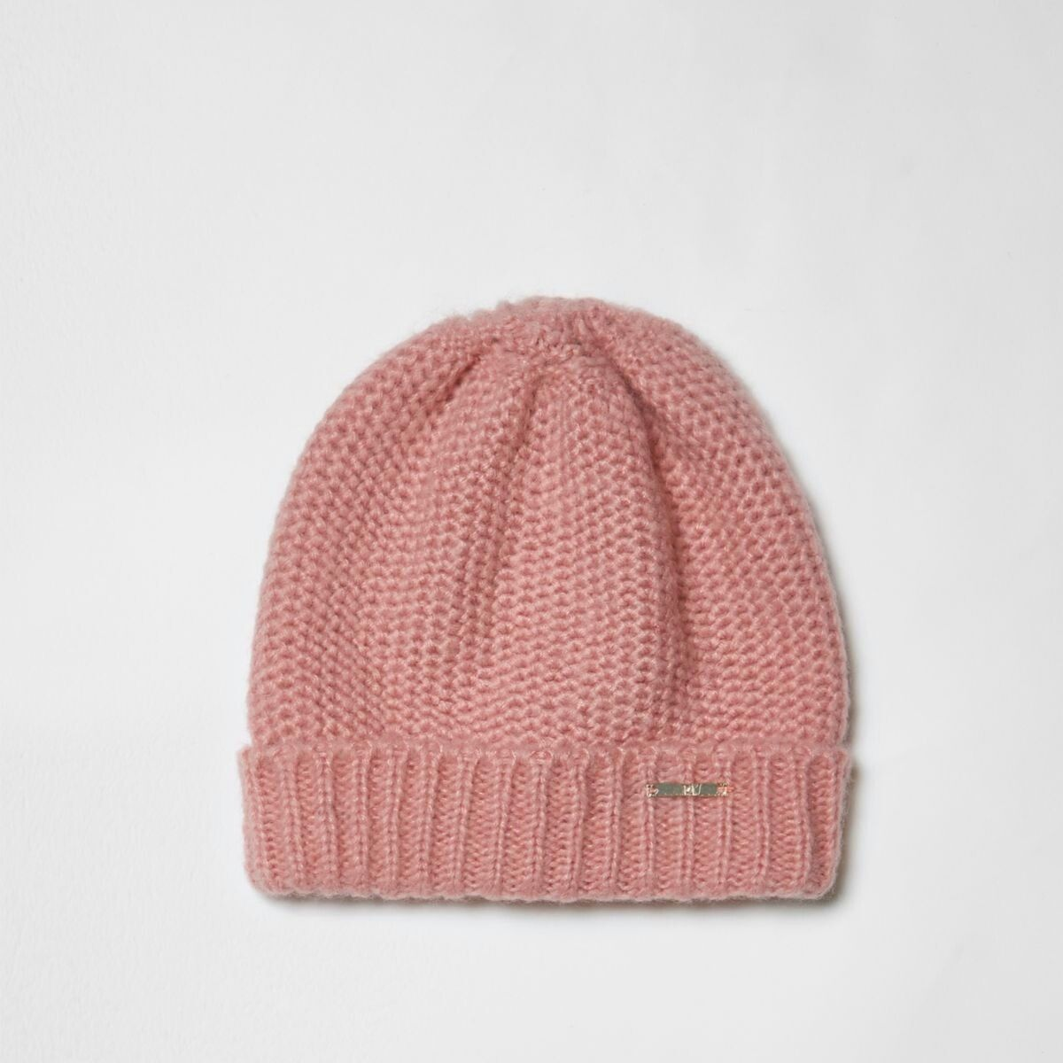 b8969dd6f8c Pink turn-up hem knit beanie hat
