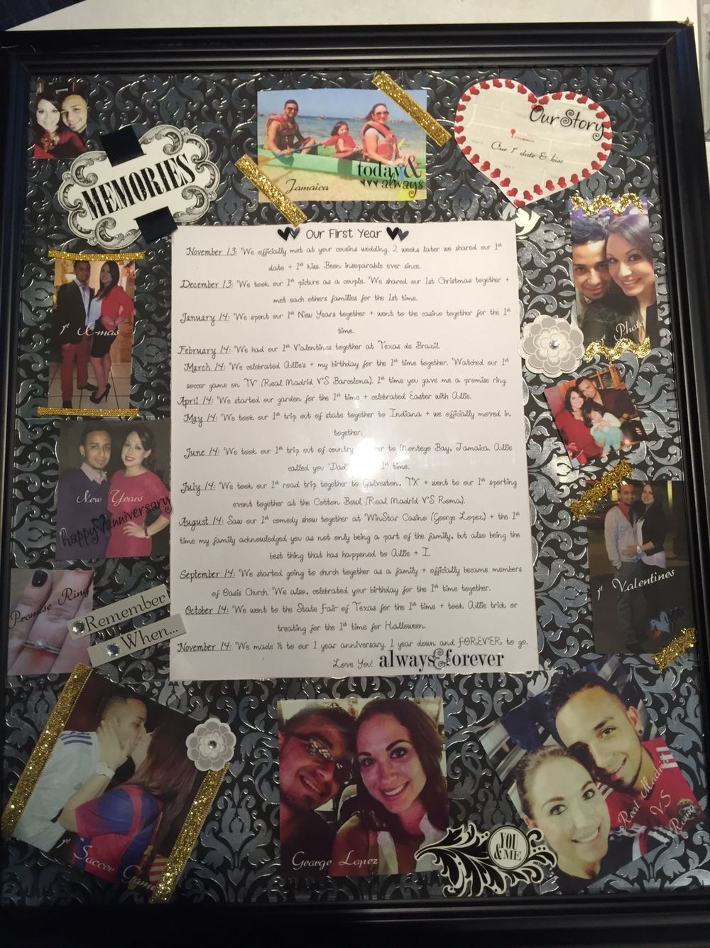Scrapbook ideas one year anniversary - 1 Year Anniversary Gift Idea For Him Important Moments Milestones Across The Year Along