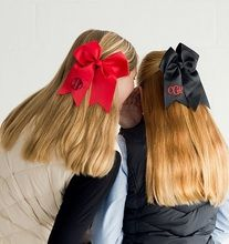 #cheerleader #football Our school spirit hair bows are available in black, red, garnet, white, royal blue, navy blue, green and gold with your choice of thread color for your monogram.