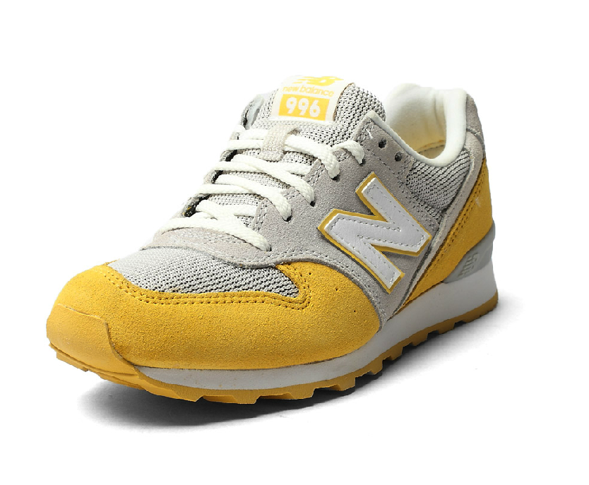 New Balance Grey Yellow Womens Retro Sneakers WR996KE2