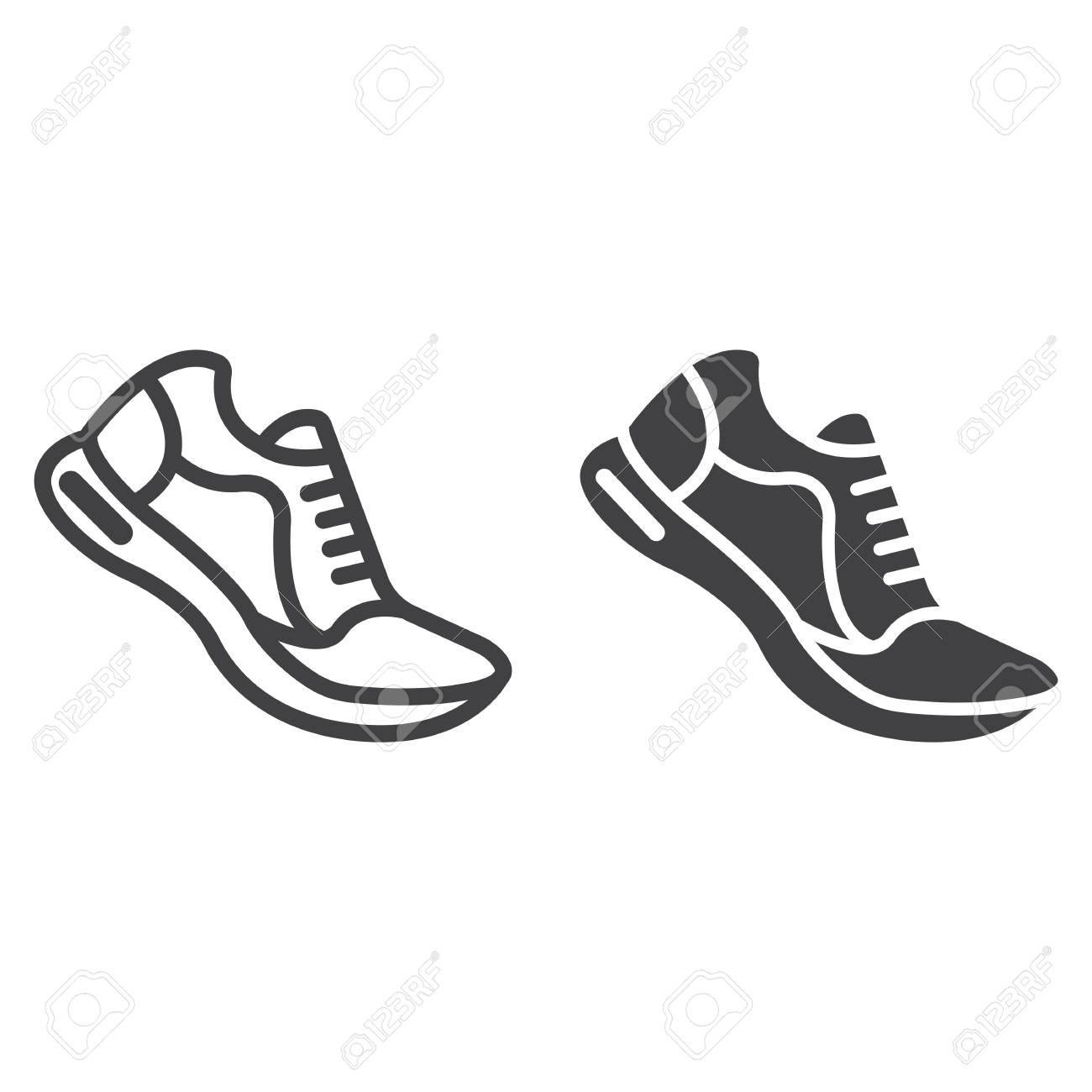 Running shoes line and glyph icon, fitness and sport, gym sign vector graphics, a linear pattern on...