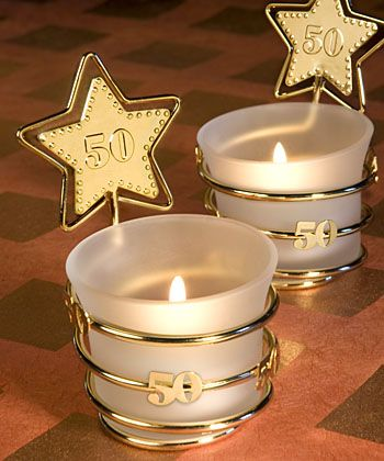 Gold Star Design 50th Anniversary Celebration Candle Favors