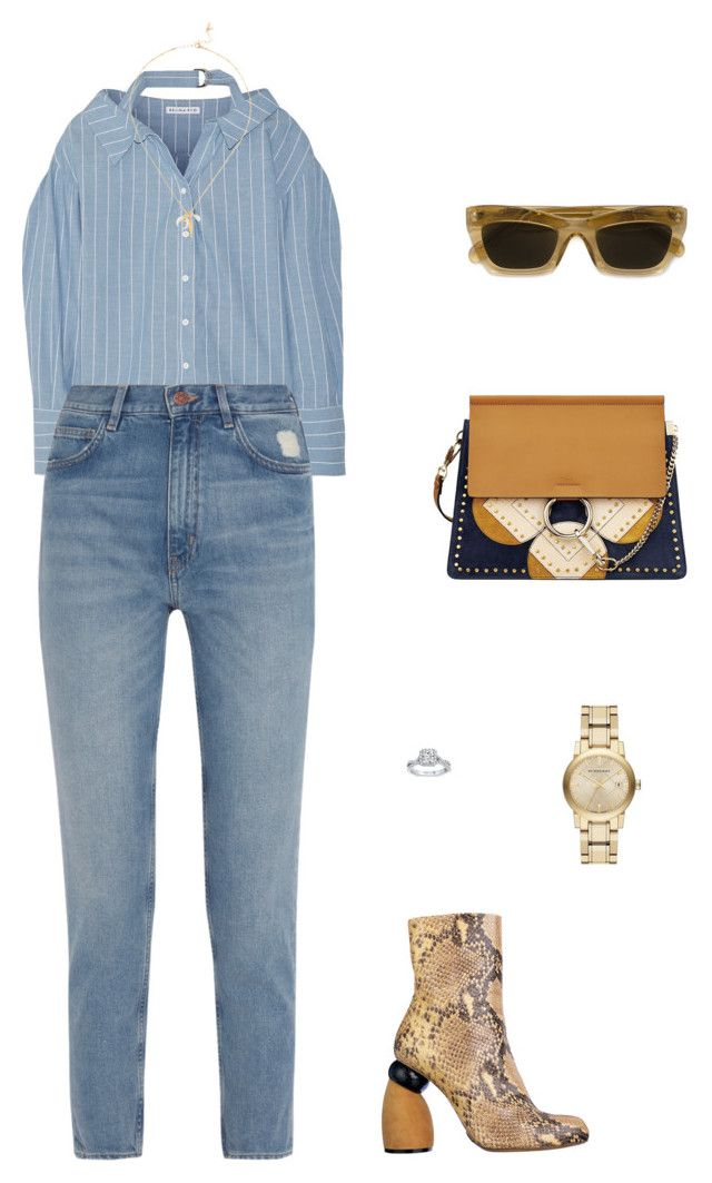 """Street Style"" by julieselmer on Polyvore featuring Rejina Pyo, M.i.h Jeans, Chan Luu, CÉLINE and Burberry"