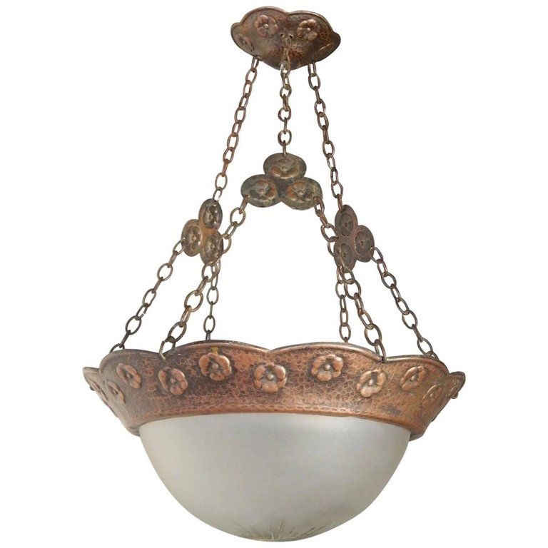 Swedish arts crafts hammered copper hanging light fixture circa swedish arts crafts hammered copper hanging light fixture circa 1910 mozeypictures Image collections