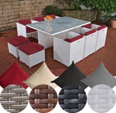 Außergewöhnliche XXL Poly Rattan Sitzgruppe MAUI (10 Stühle/Hocker, Tisch  Ca. 180 X 120 Cm) INKL. Bequemen Sitzauflagen, FARBWAHL Jetzt Bestellen  Unter: ...