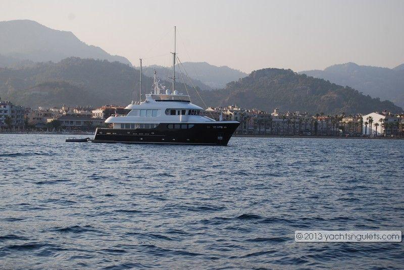 Private motor yacht charter at sunset : Marmaris, Turkey