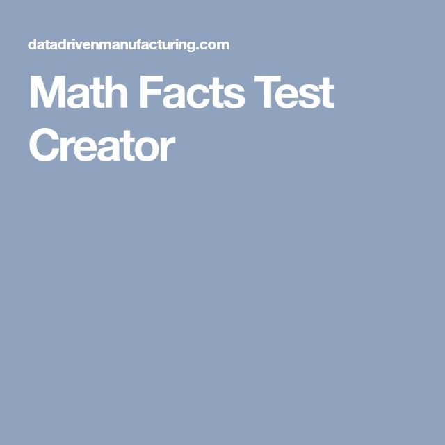 Math Facts Test Creator | Skool Goodies | Pinterest | Math facts ...