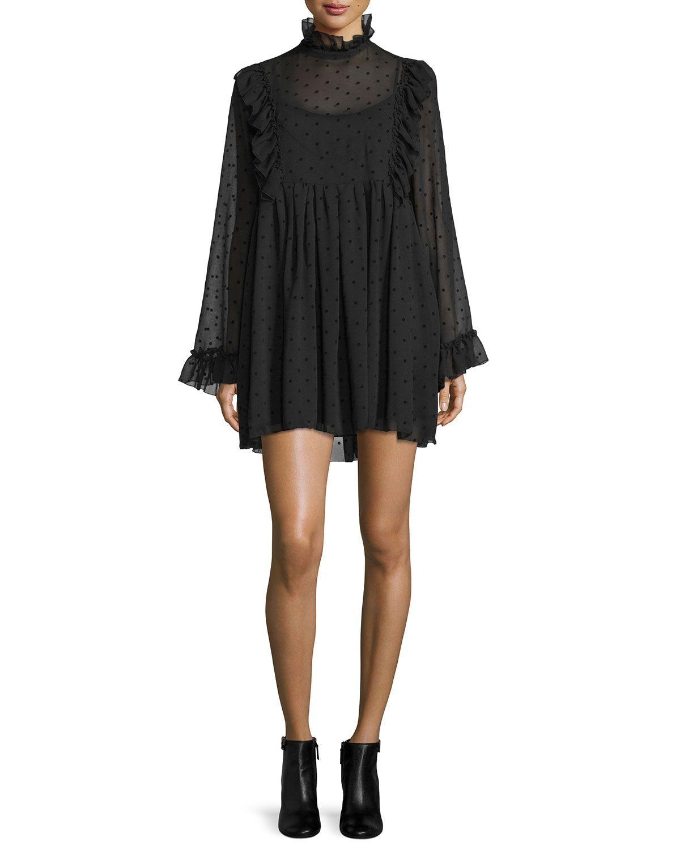 See By Chloe Long Sleeve Chiffon Polka Dot Mini Dress Black Chiffon Dress Short Mini Black Dress Long Sleeve Chiffon Dress [ 1500 x 1200 Pixel ]