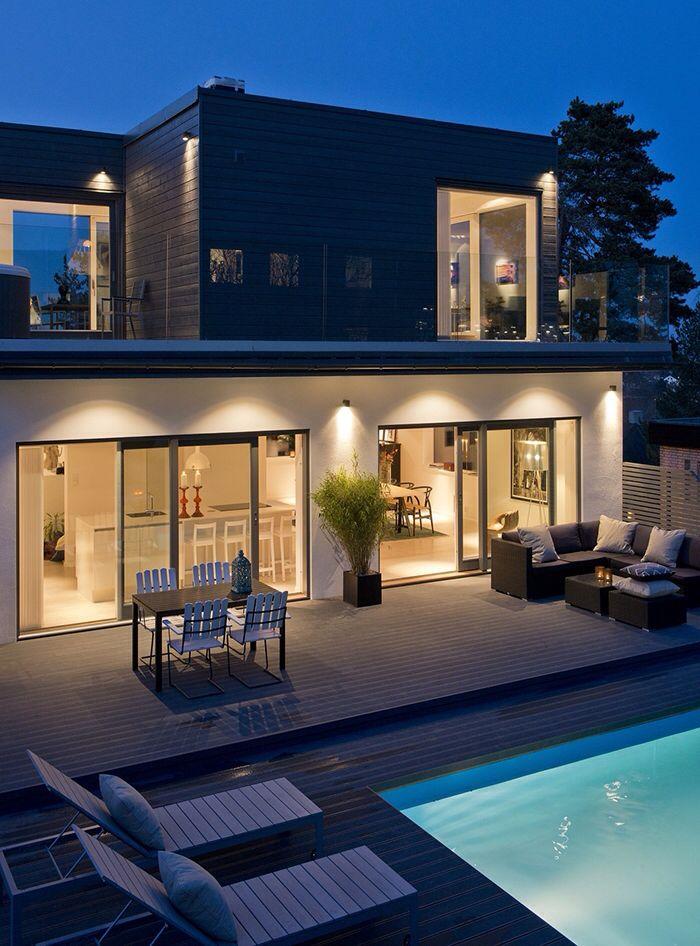 Fasadbelysning | New building | Pinterest | Moderne häuser und Häuschen