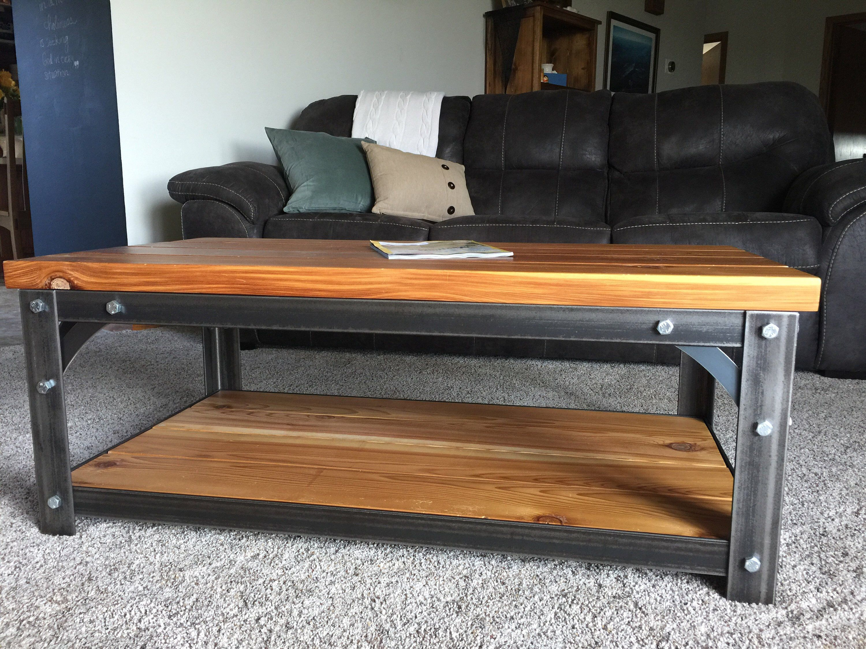 Heavy industrialstyle coffe table with western red cedar