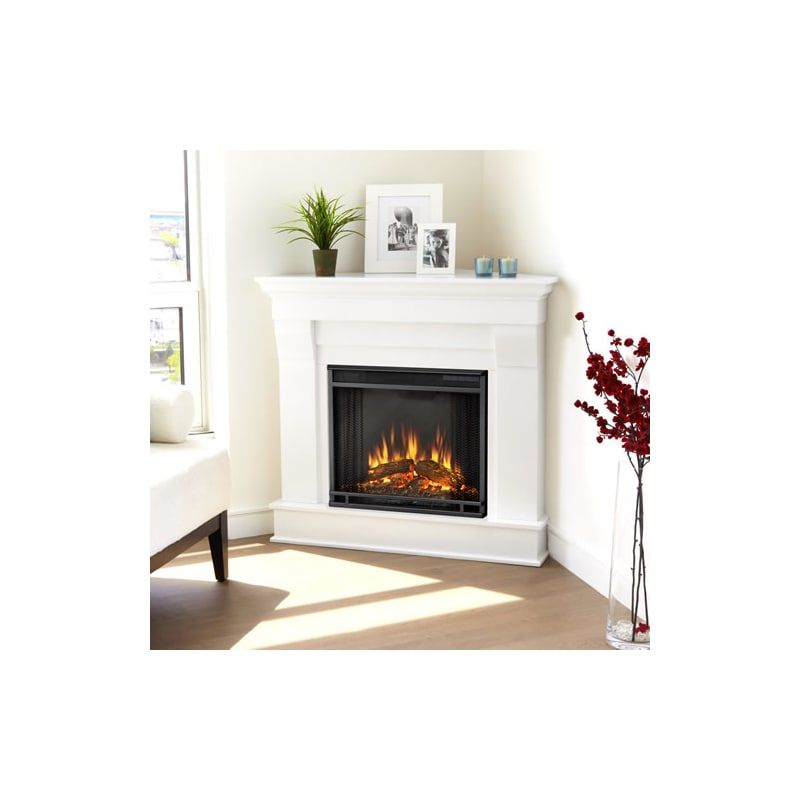 Real Flame 5950e W White Chateau 4 780 Btu 1 500w 41 Inch Wide Free Standing Mantel Electric Fireplace With Remote Control Free Standing Electric Fireplace Corner Fireplace Mantels Corner Fireplace