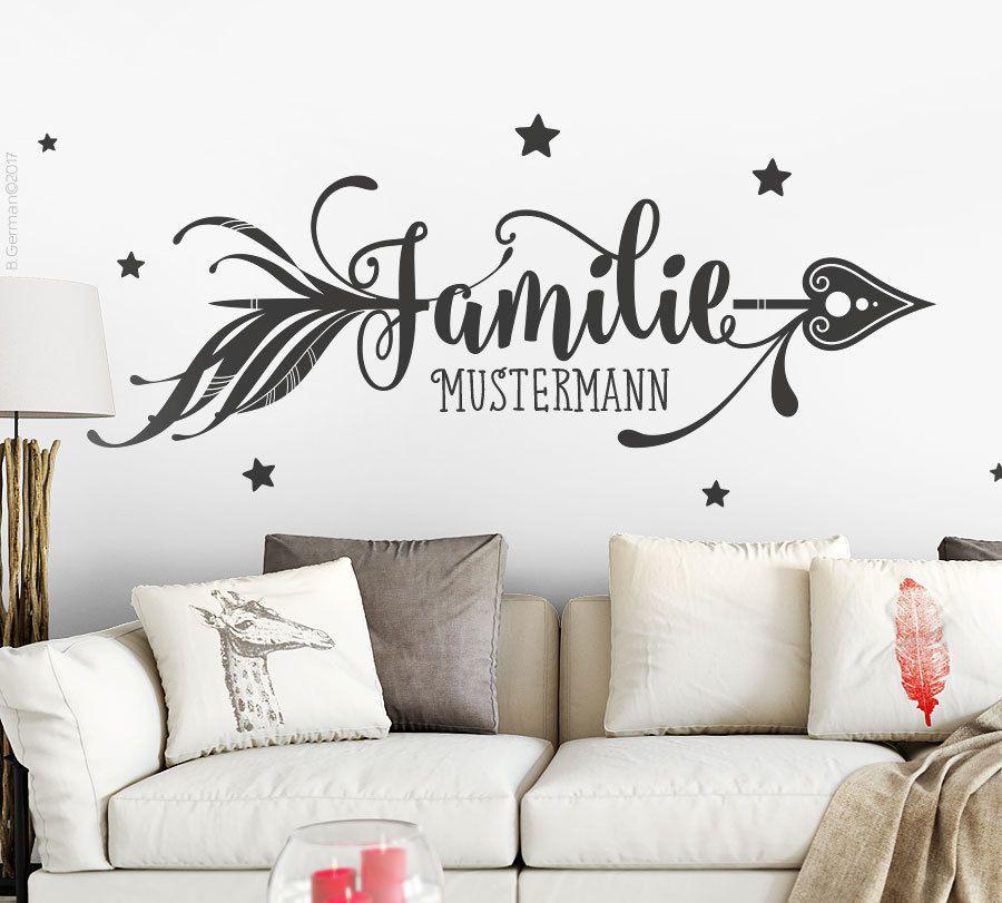 Wandsticker Wohnzimmer | Details Zu Wandtattoo Familie Mit Name Wunschname Wandsticker