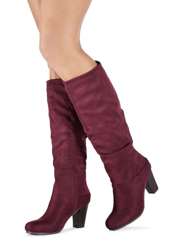Helen slouchy faux suede boot with wood stacked heel. #wishlist #love #boots
