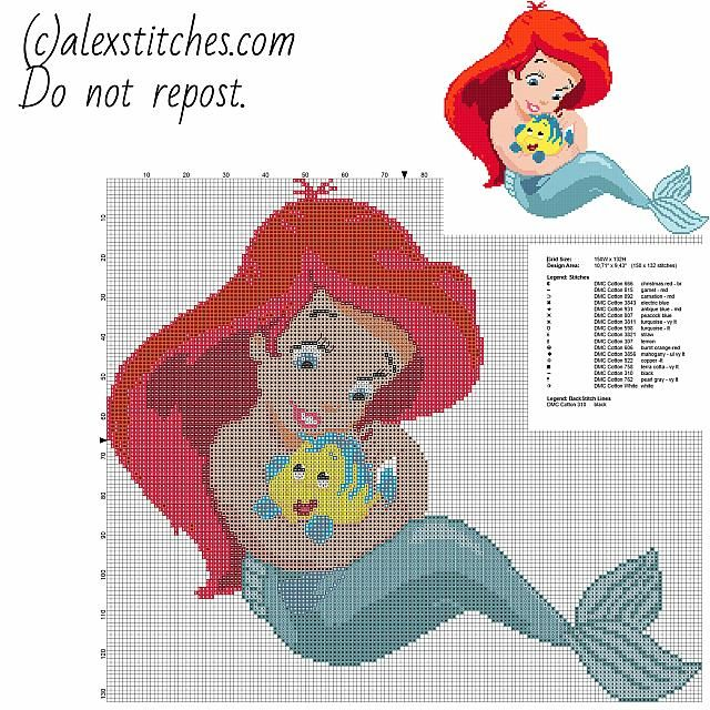 Disney Baby Princess Ariel Free Cross Stitch Pattern Download In Delectable Cross Stitch Patterns Download