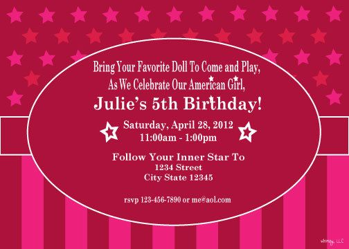 american girl doll inspired printable birthday invitation. $15.00, Invitation templates