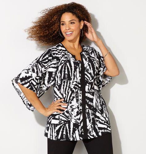 083b0cef4d04 KIMONO SLV TOP, Black White | t-shirt decorating | Fashion outfits ...