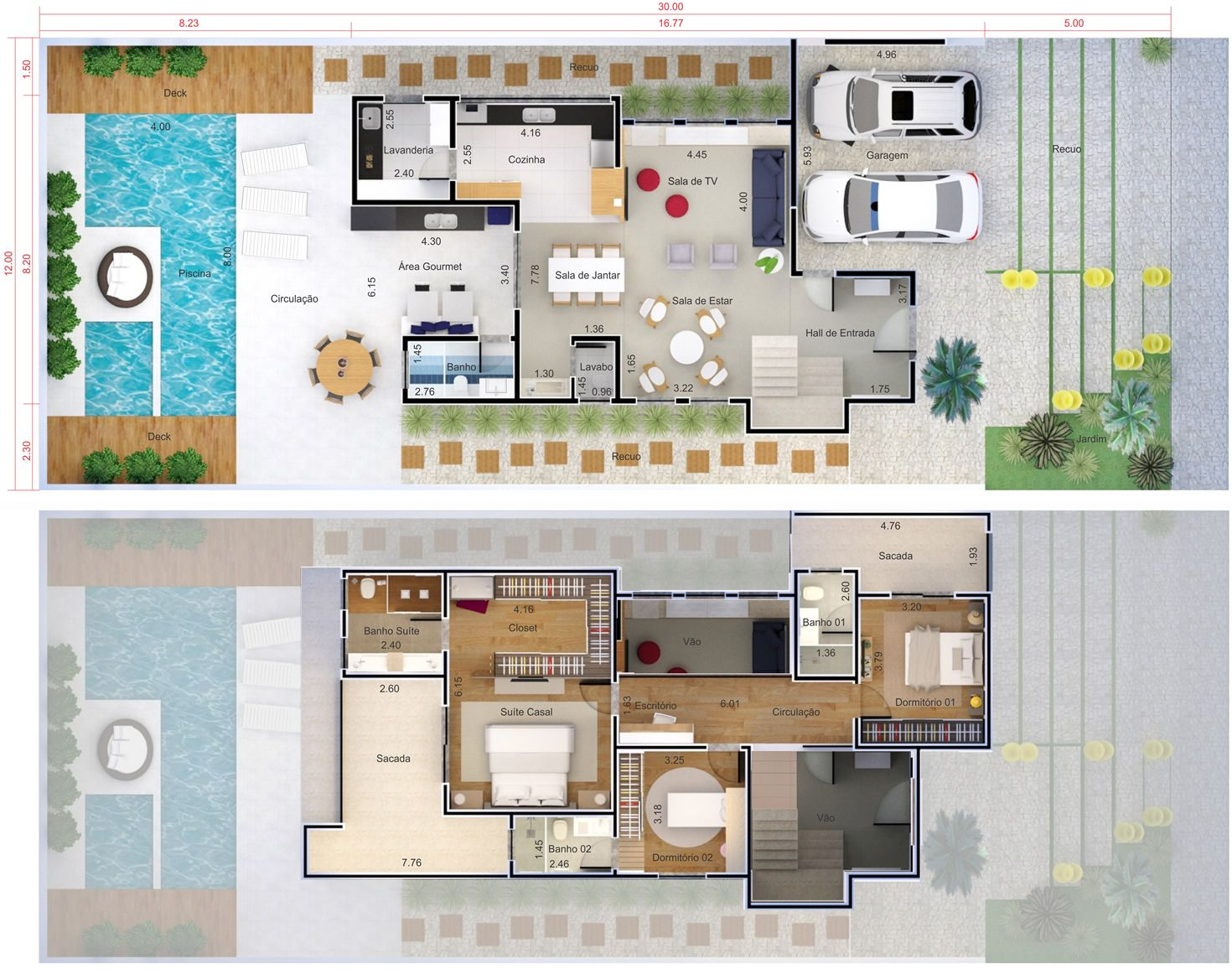 Planta de sobrado com 3 su tes planta para terreno 12x30 for Casa moderna 2 andares 3 quartos