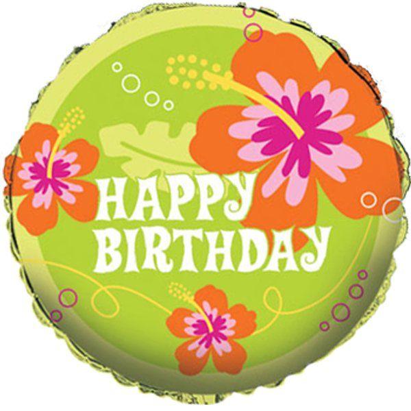 Tropical Island Luau Happy Birthday 18 In. Foil Balloon