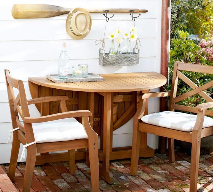 Hampstead Teak Round Drop Leaf Dining Table   Honey