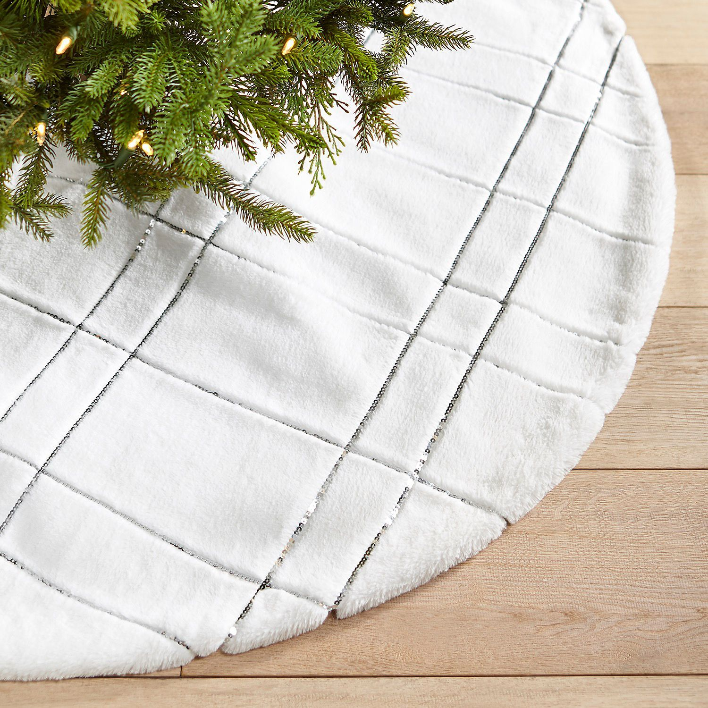 White Plaid Faux Fur Silver Tree Skirt Pier 1 Imports Silver Tree Skirt Tree Skirts Christmas Tree Skirt
