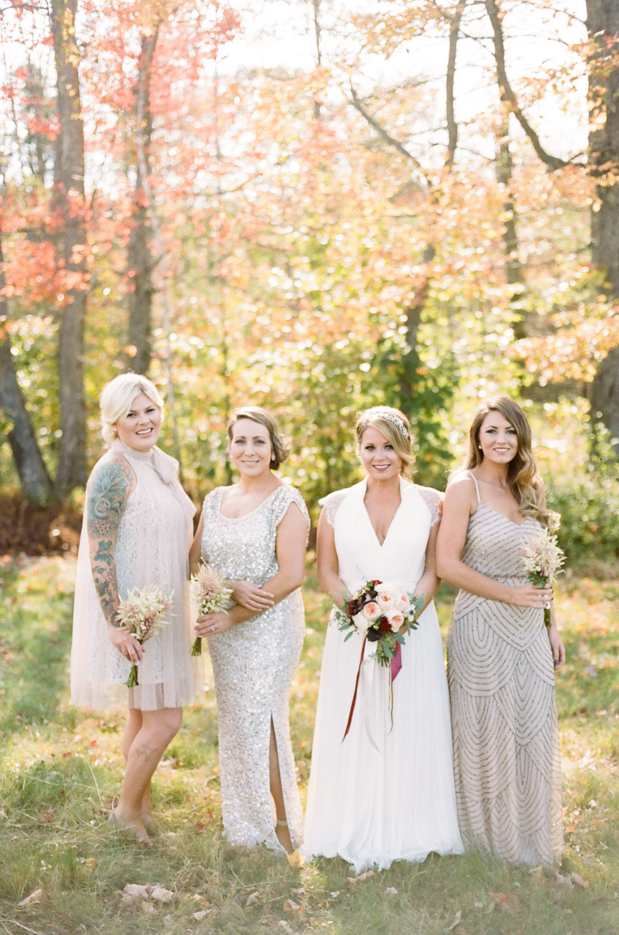 Dresses for wedding maids  Glam Shimmery Champagne Bridesmaid Dresses  Wedding bridesmaid
