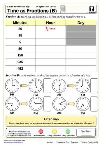time as fractions b maths worksheet math printable math worksheets fractions worksheets. Black Bedroom Furniture Sets. Home Design Ideas