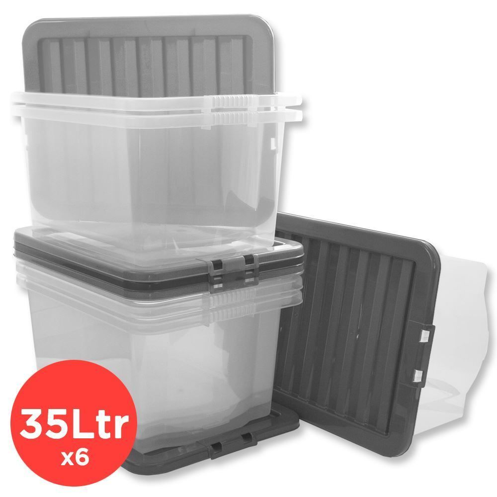 Details about CLEAR PLASTIC STORAGE BOX 35 LTR LITRE/ BIG STACKER BOXES LARGE CONTANIER u0026 LID  sc 1 st  Pinterest & Details about CLEAR PLASTIC STORAGE BOX 35 LTR LITRE/ BIG STACKER ... Aboutintivar.Com