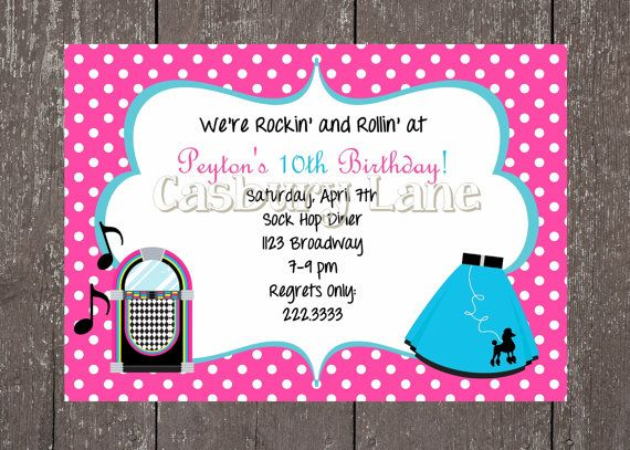 Printable Invitation Stationary and PartyTags50s Party Collection