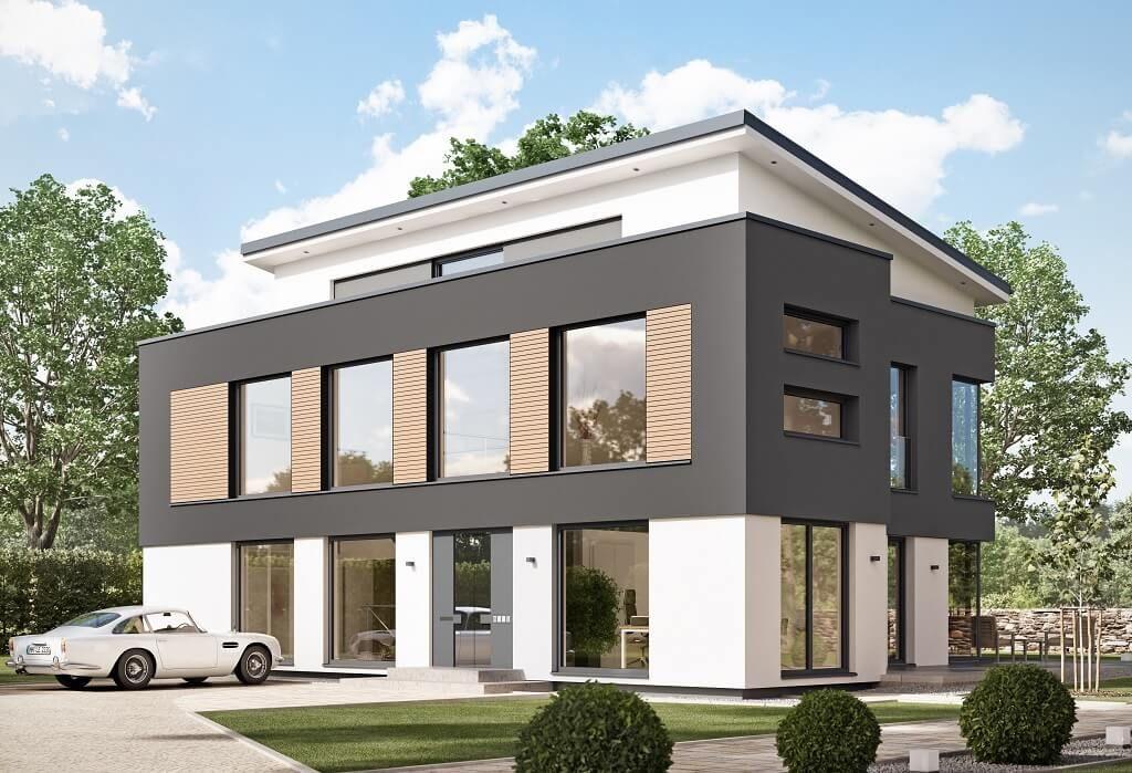 Musterhaus modern pultdach  Indeland - #Einfamilienhaus von Fullwood - LK-Fertigbau GmbH ...
